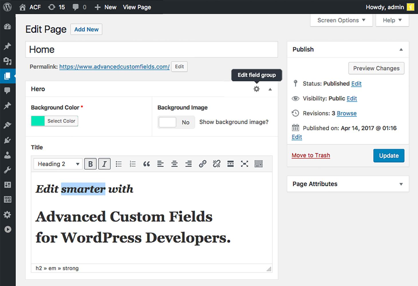 Advanced custom fields wordpress plugin